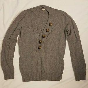J Crew Grey V-Neck Sweater